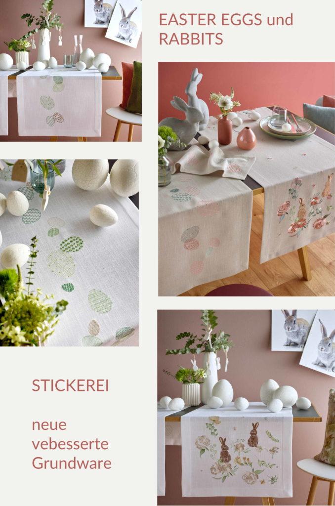 Sander Tischwäsche Ostern Tischläufer Easter Eggs und Rabbits