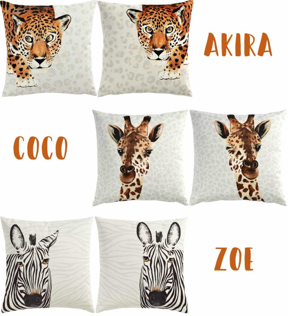 Kissen Zebra, Leo, Giraffe von Sander