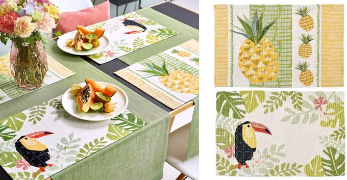 Sander Gobelin Tischsets TOUCAN und Pineapple