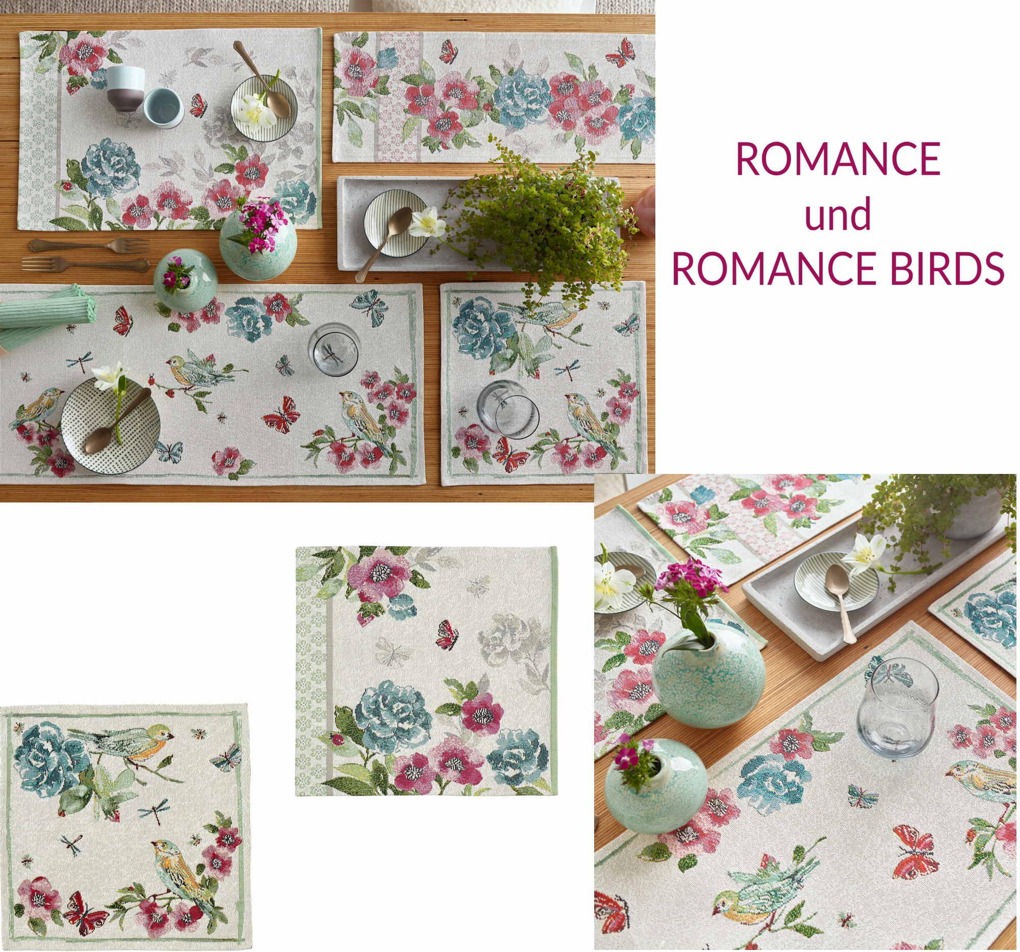 Sander Gobelin Tischwäsche ROMANCE und ROMANCE BIRDS