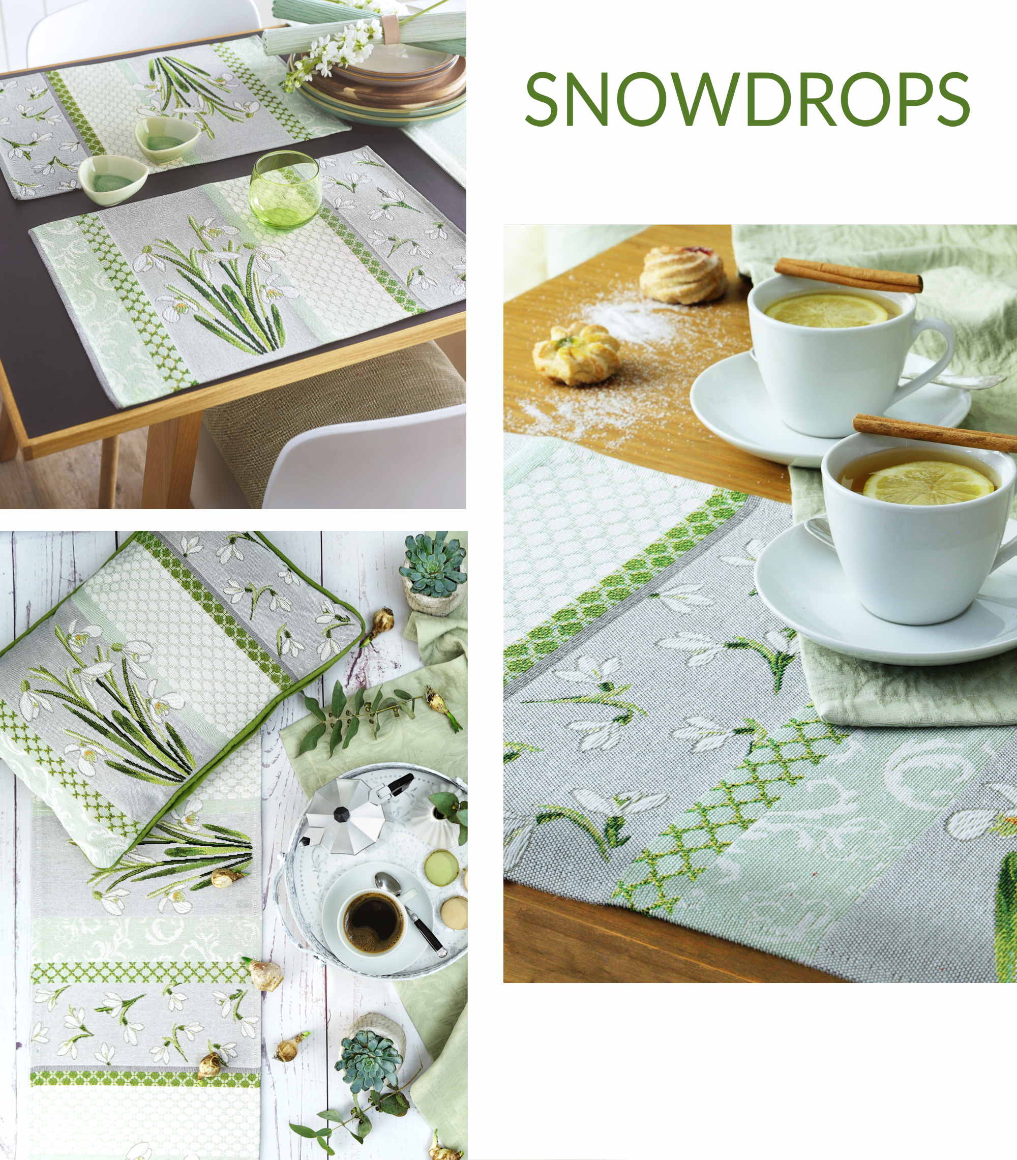 Gobelin Tischsets und Tischläufer Schneeglöcken SNOWDROPS