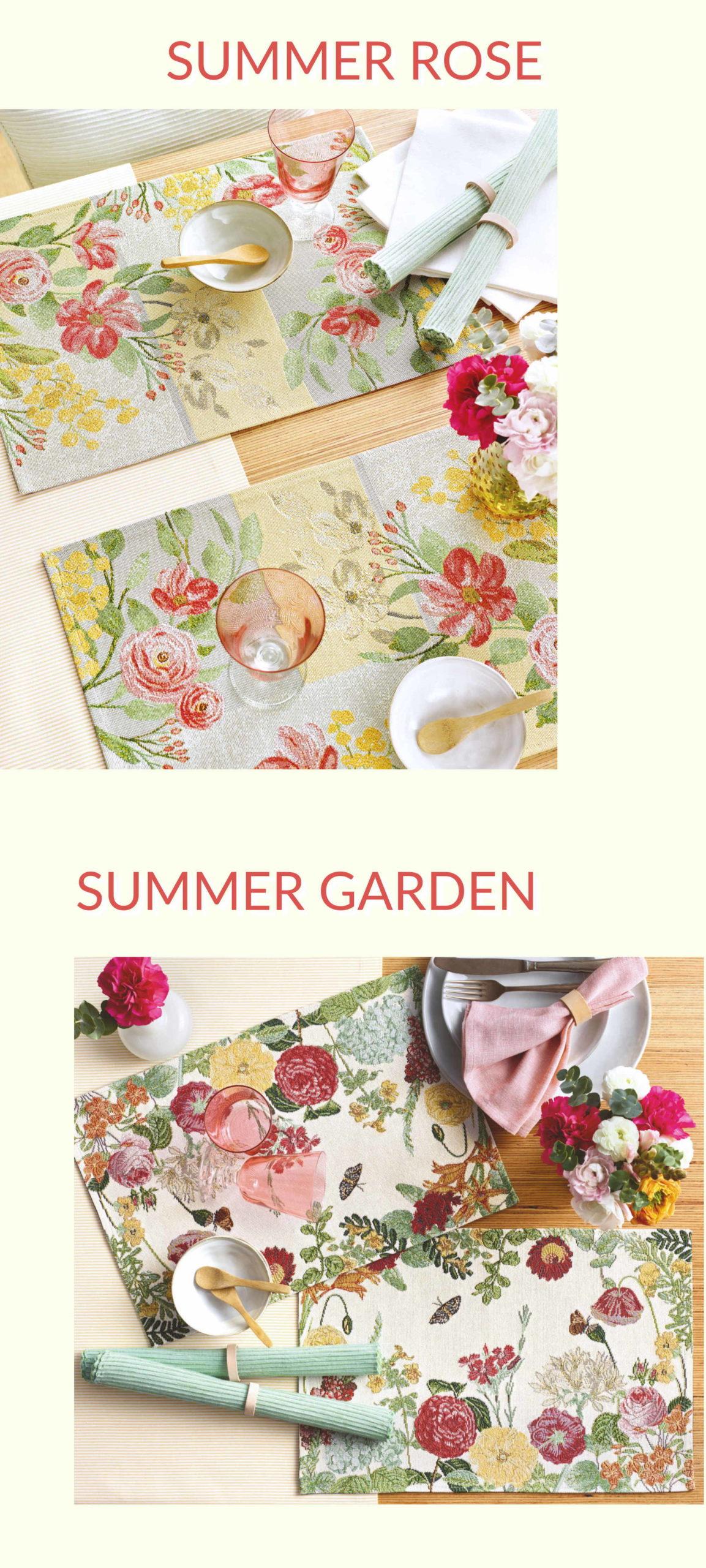 Sander Tischwäsche Gobelin Tischsets Sumer Garden und Summer Rose