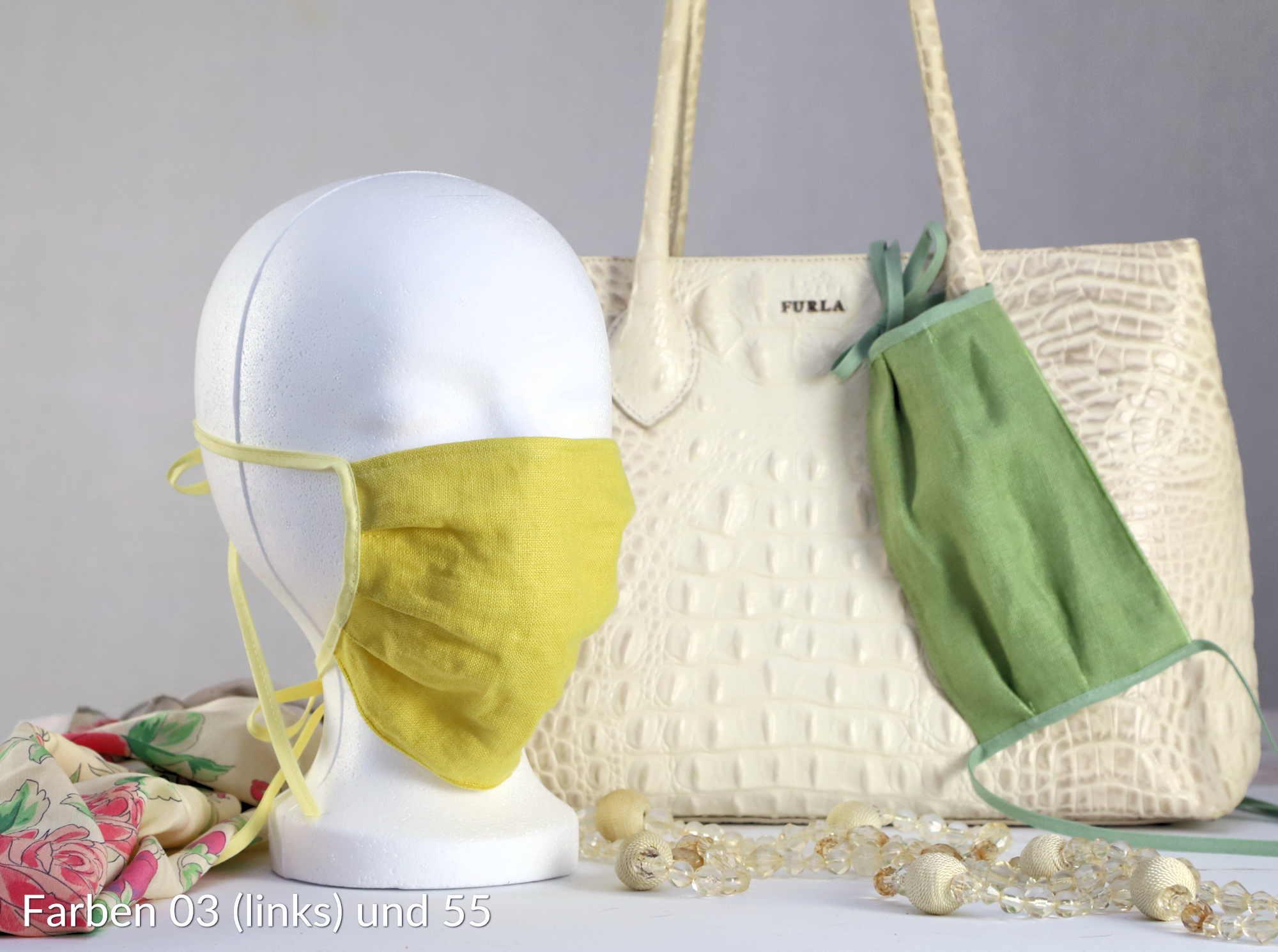 modische Behelfsmasken aus Leinen mit Vlies gefüttert