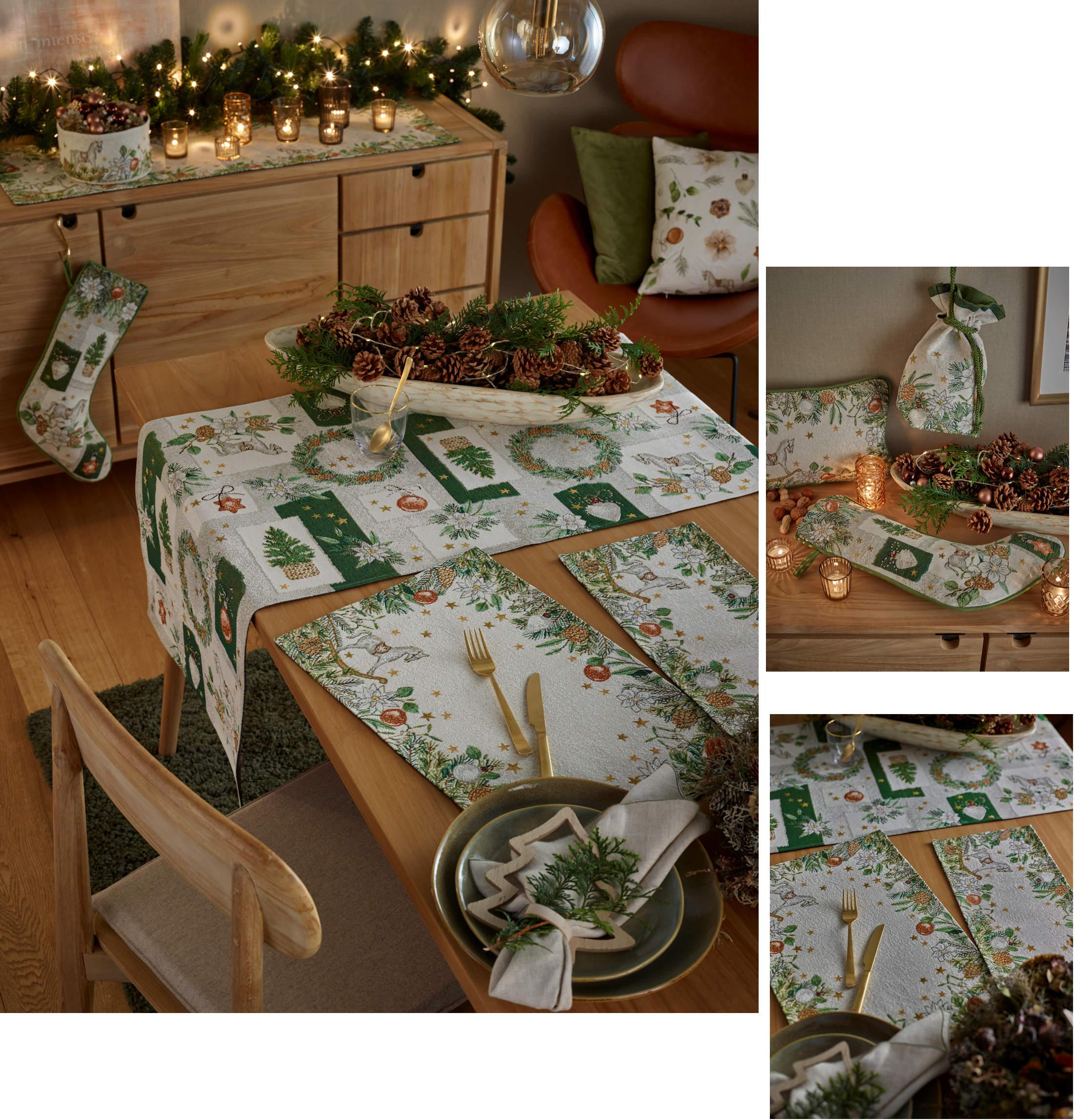 Weihnachtstischläufer und Weihnachtstischsets von Sander Tischwäsche